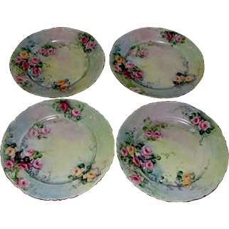 Set of Four Tea Roses Plates Bavaria