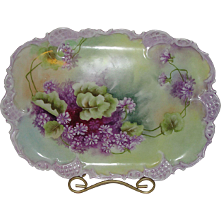Vienna Austria Purple Pansies Porcelain Reticulated Tray