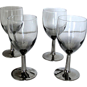 Vintage Set of 4 Petite Crystal Glasses with Silver Gray Stems Marked France