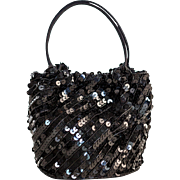 Black La Regale Sequin and Beaded Wristlet Evening formal bag