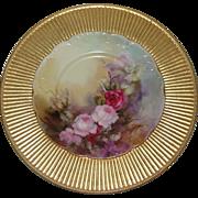 Haviland France Porcelain LImoges Pink Rose Hand Painted Plate