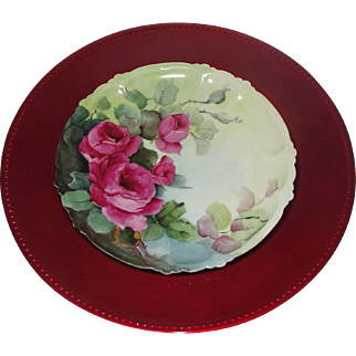 RC Claire Bavaria Porcelain Red Rose Plate