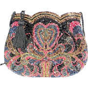 Jacobson Beaded Vintage Sequin Embellished Evening Bag with Cross Body Strap