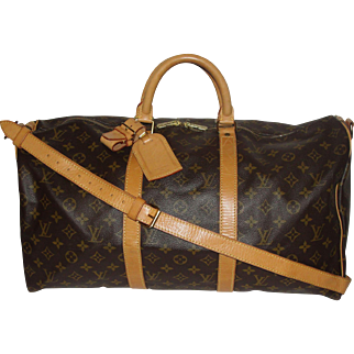 Authentic Vintage Louis Vuitton Duffle Bandouliere 50 Keepall Bag with Strap