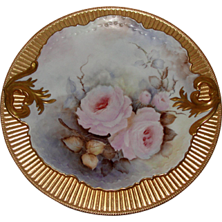 Porcelain Artist Signed Pink Rose Charger with Gold Handles