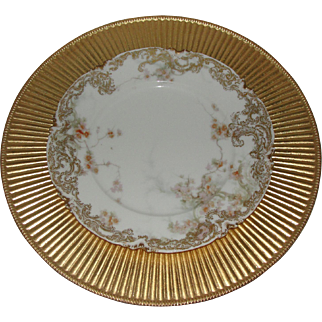 RARE Limoges Porcelain Feu De Four Haviland Plate with Gold Tone Charger