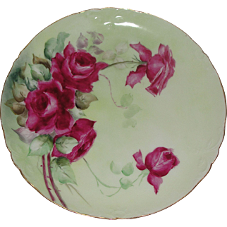 JPL Limoges Decorative Porcelain Plate Hand Painted Artist Signed with Red Roses