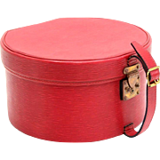 Authentic Vintage Louis Vuitton Red Epi Leather Hat Box with lock and key