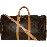 Authentic Vintage Louis Vuitton Duffle Bandouliere 55 Keepall Bag with Strap