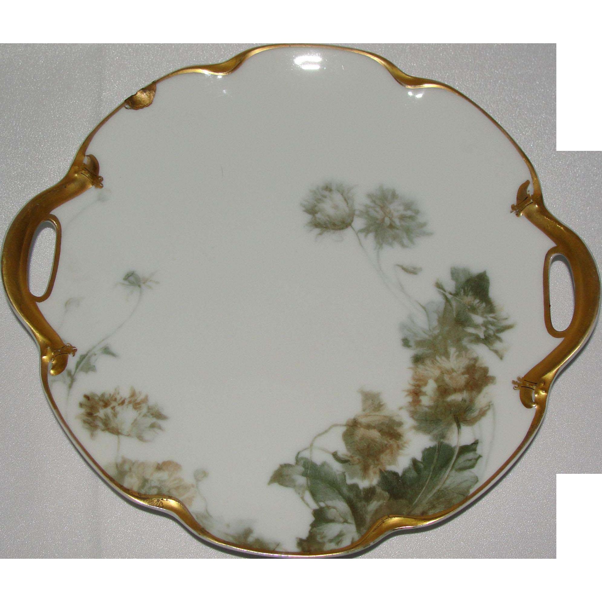 Feu de four haviland limoges porcelain charger plate with gold handles from p - De haviland porcelaine ...
