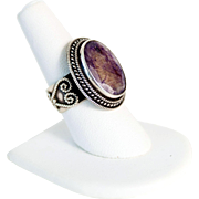 Statement Silver Ring 925 Uncut Natural Amethyst Stone Artisan Created Size 7.50