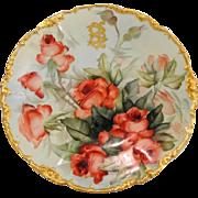 Ester Miler Hand Painted Signed Limoges Porcelain Dinner Plate T&V Red Roses 10 Inch