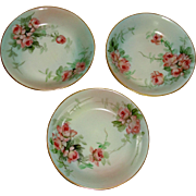 Ester Miler Signed Hand Painted Limoges Set of 3 Fruit Bowls with Peach Roses