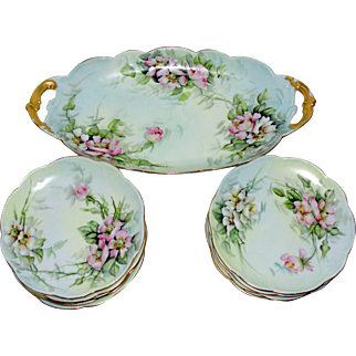 Ester Miler Hand Painted Signed dated 1903 Limoges Porcelain Long Tray and 10 Plates