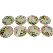 Ester Thomas Signed Limoges Fine Porcelain Peach Rose Set of 8 Dessert Sandwich Plates Ester Miler