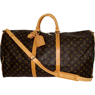 Vintage Authentic Louis Vuitton Bandouliere 60 Keepall Duffle Bag with Strap