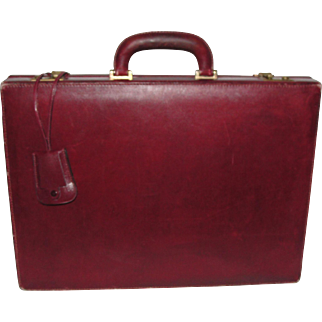 Vintage Authentic Gucci Oxblood Leather Attache Briefcase with Dust Bag