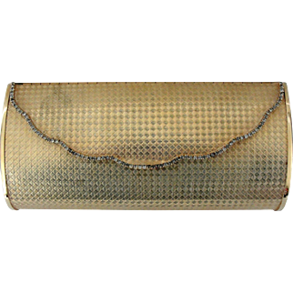 Vintage Metal Goldtone Clutch Purse with Crystals Julius Garfinckel Co Washington DC
