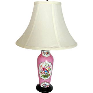 Old Paris Antique Pink Porcelain Working Lamp No Shade