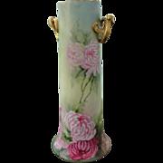 Large Colorful Bavaria Porcelain Vase with Gold Handles Dual Side Heirloom Estate Excellent Condition
