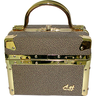 Vintage Train Case by CSharp Handbag Cosmetic Case Toiletry Satchel