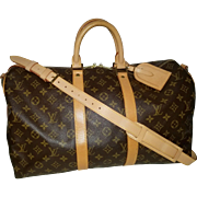 Vintage Louis Vuitton Monogram Duffle Gym Keepall Bandouliere 45 Bag with Strap