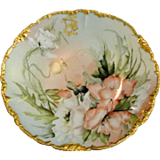 3 Day Sale ! Ester Miler Signed TV Limoges Porcelain Poppy Plate with Gold Rim Heirloom collectibles