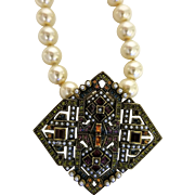 Vintage Heidi Daus Faux-Pearl Necklace with Removable Pendant Brooch
