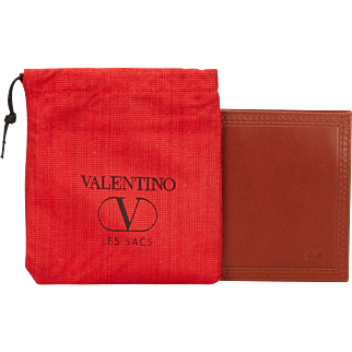 Vintage Valentino Garavani Brown Bifold Mens Wallet with Original dust bag