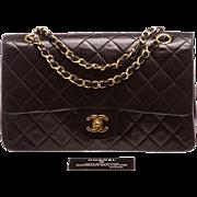 Authentic Vintage Chanel Black Lambskin Double Flap Chain Bag