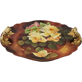 Antique Habsburg Austria Yellow Rose Platter with Gold Gilt Figural Heads Artist Signed
