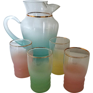 BLENDO Frosted Glass Turquoise Pitcher and set of glasses by West Virginia Glass Specialty