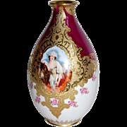 Royal Bayreuth Vase MilkMaids Portrait Signed Wagner