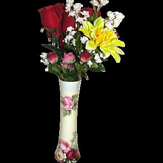 Vienna Austria Heirloom Vintage Porcelain Vase of Roses