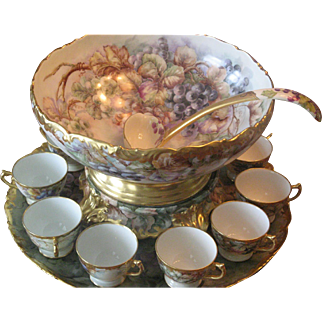 Large Heirloom Limoges Porcelain Punch Bowl 16 Piece Set 106 years old