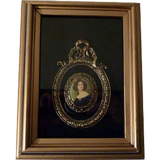 Framed Limoges Cameo Porcelain encased in a Shadow Box