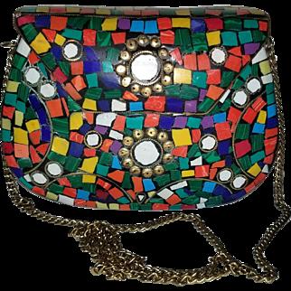 Artisan Vintage Color Block Metal Shoulder Bag