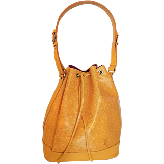Authentic Vintage Louis Vuitton Yellow Epi Leather Noe Bucket Bag