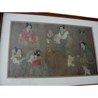 Framed Chinese Collotype Print Playing with Infants Style of Chou Fang