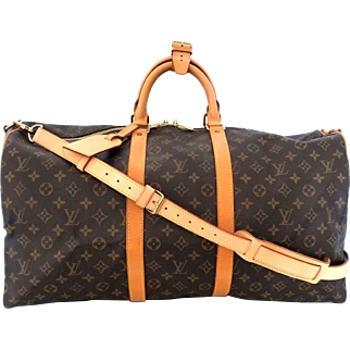 Vintage Authentic Louis Vuitton Bandouliere 55 Keepall Duffle Bag with Strap