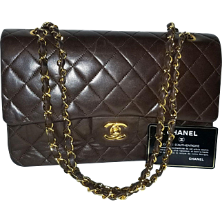 Authentic Vintage Brown Lambskin Chanel Classic Flap Bag 2.55