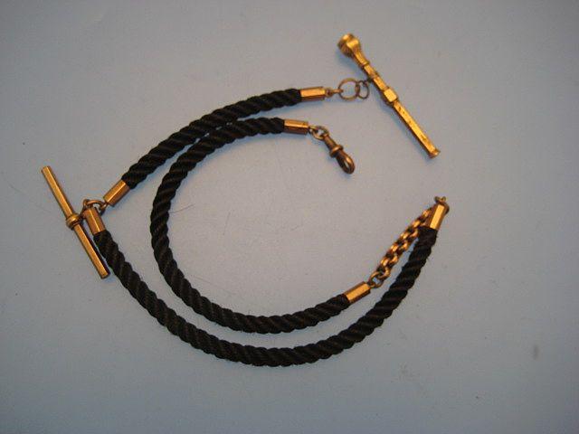 Albert Watch Chain in Hair & Gilt - Victorian/Edwardian