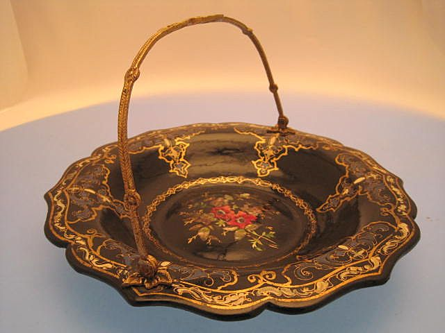 Papier Mache Dish with Gilded Handle - Victorian