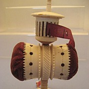 Stand-Alone Pin Cushion/Tape Measure Combo in Antique Bone - Victorian