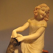 Bisque Piano Doll, Pretty Teen-ager Fixing Stockings - Edwardian