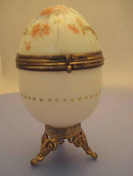 Glass Egg Trinket Case - Victorian