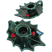 Lefton Christmas Holly Candle Holders