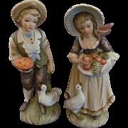 Lefton Young Countryside Farm Couple, Boy & Girl Figurines #6988
