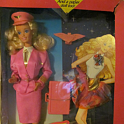 1989 Mattel Barbie Flight Time Gift Set, MIB