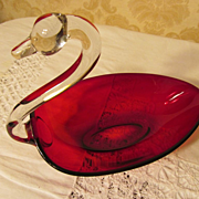 Pretty Ruby & Crystal Swan Dish Bowl